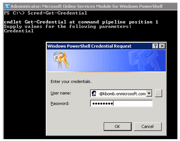 Store credentials in a PowerShell variable.