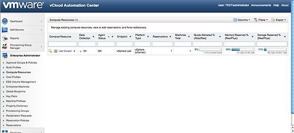 Open the vCAC administrator screen to create a new enterprise group