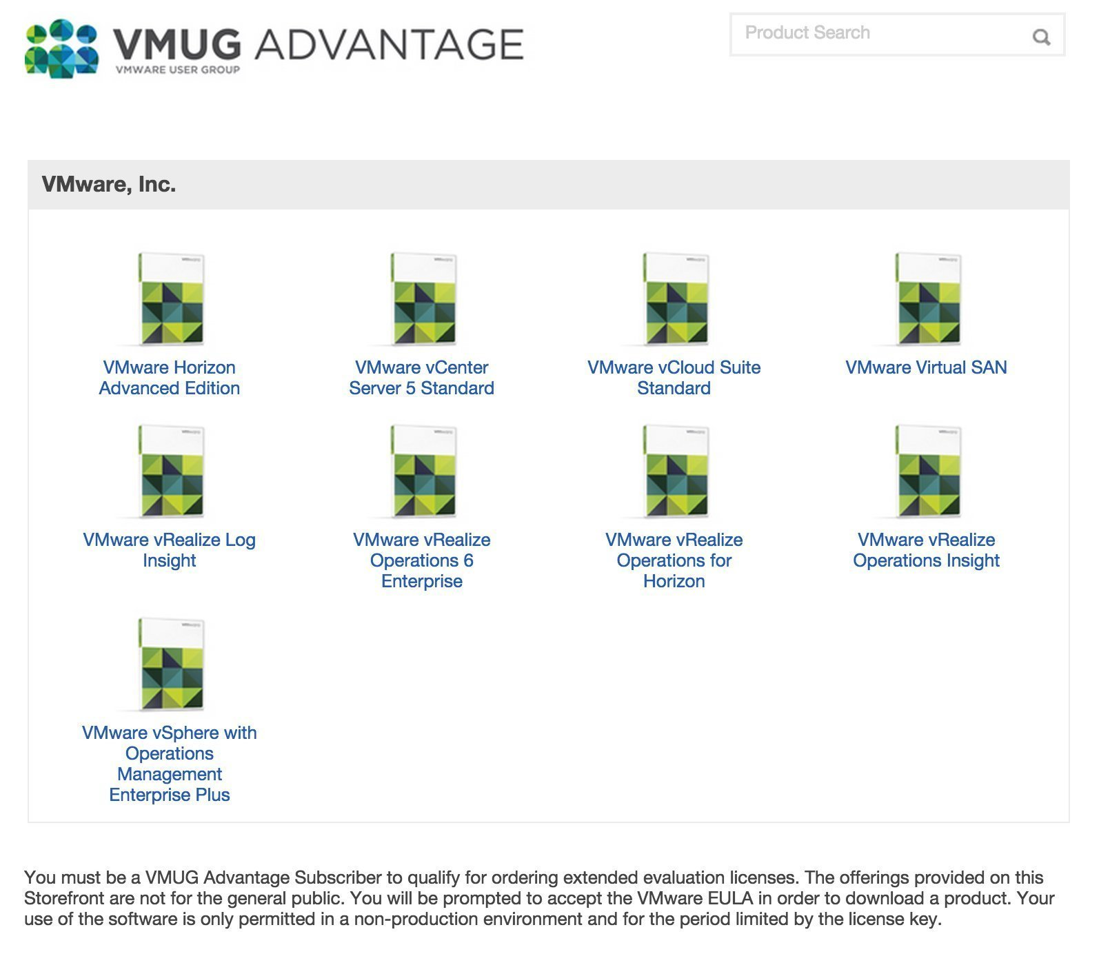 VMUG EVALExperience products