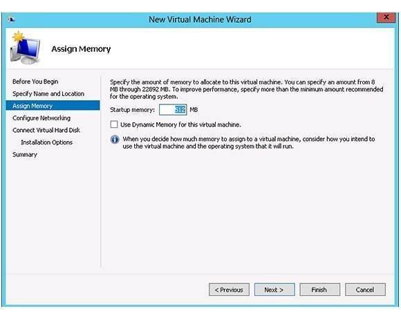 Virtual Machine Wizard assign memory