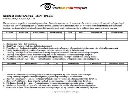 Business Impact Analysis Report template image