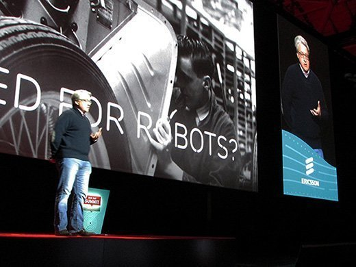 Jason Hoffman, vice president and head of cloud infrastructure at Ericsson, speaks during a keynote address at the Red Hat Summit in Boston on Wednesday.