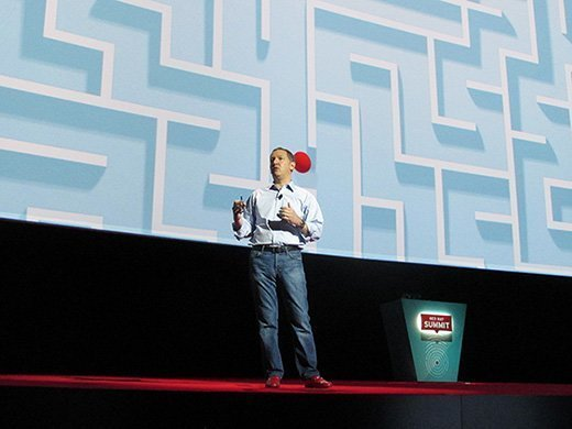 CEO Jim Whitehurst speaks during a keynote address at the Red Hat Summit in Boston on Wednesday.