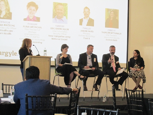 From left to right, moderator Christina Mazzone, Alina Aronova, Eric Barricklow, Jason Hayes and Tasneem Nipplewala discuss cloud security at the Argyle 2018 CIO Leadership Forum in Boston on May 2.