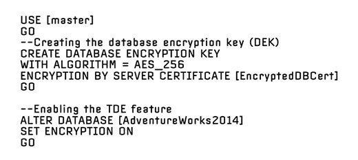 Create the database encryption key and enable TDE