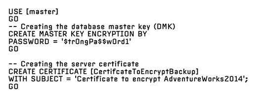 Create a DMK and a server certificate in the master database
