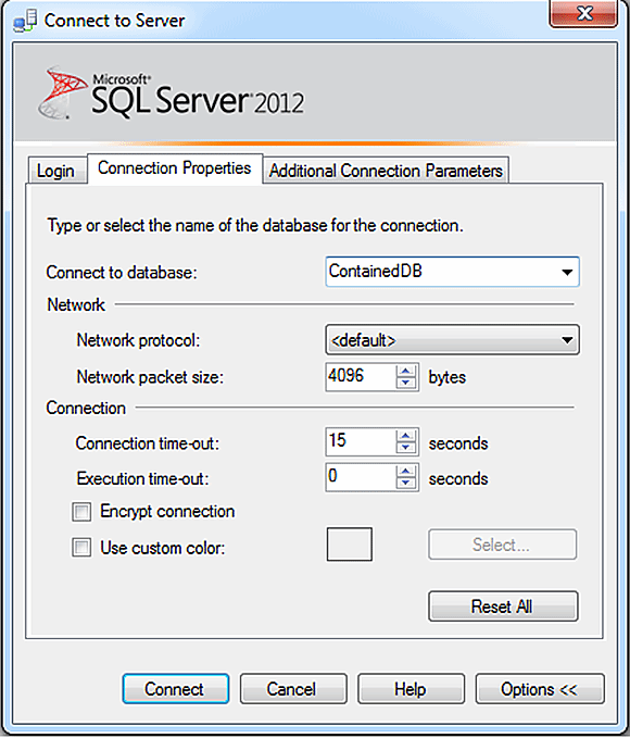 SQL Server contained database options
