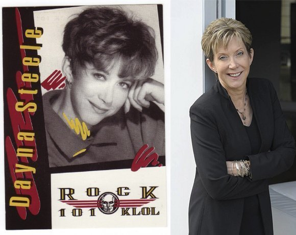 On left—Dayna Steele at the height of her radio career- at right, Dayna Steele today.