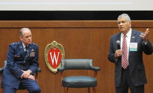 David Cagigal, CIO for the state of Wisconsin, and Maj. Gen. Donald Dunbar, who heads the state's emergency management efforts, spoke at the Fusion 2016 CEO-CIO Symposium in Madison, Wis., on Thursday.
