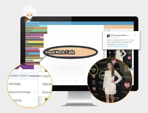 A mockup of Einstein Vision for Social Studio shows how the Salesforce image recognition technology can identify a brand name or logo in the background of images.