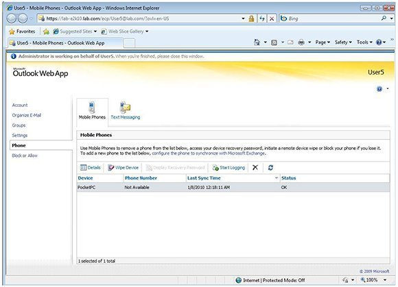 View an Exchange 2010 user's mobile device registration through the Exchange Control Panel