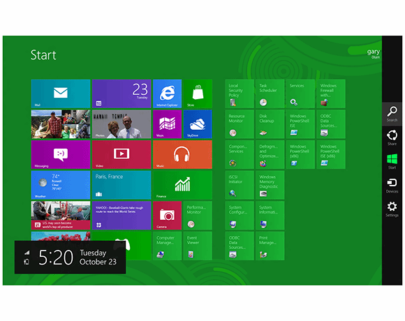 Figure 5: Windows 8's Charms bar