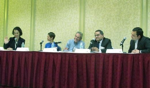 Ruth Silman moderates a panel discussion on leadership at the recent MIT Sloan CFO Summit in Newton, Mass.