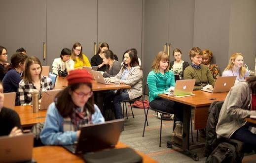 Women coders at the Girl Develop IT Hackentine's Day event in Brooklyn, N.Y.