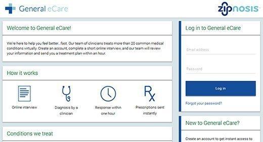 Screenshot, Zipnosis platform, patient facing