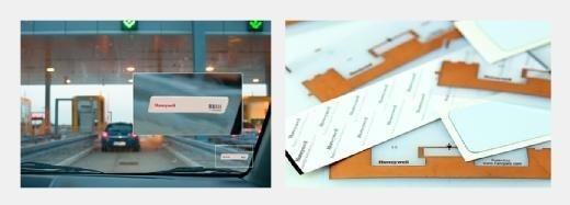 Passive RFID tags from Honeywell used on toll roads.
