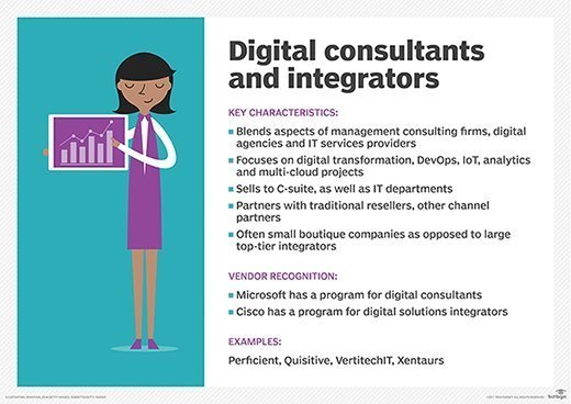 Graphic showing the core characteristics of digital consulting firms and solutions integrators