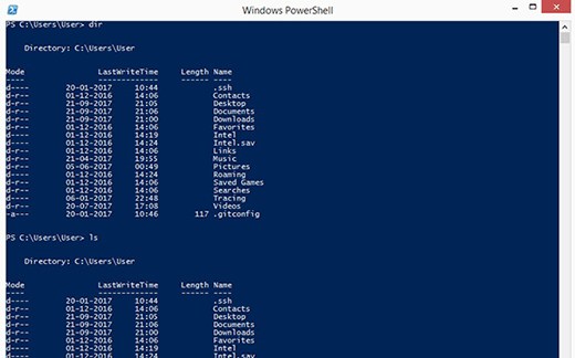 PowerShell dir vs. Bash Ls