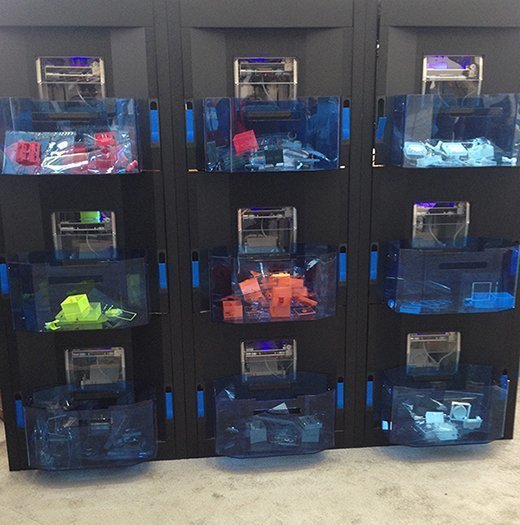 The Stratasys Continuous Build 3D Demonstrator consists of cloud-connected arrays of 3D printers.