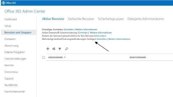Office 365 Multifaktor-Authnetifikation Konfiguration