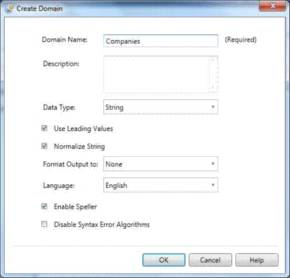 Figure 3. The Create Domain window allows users to create a new data set.