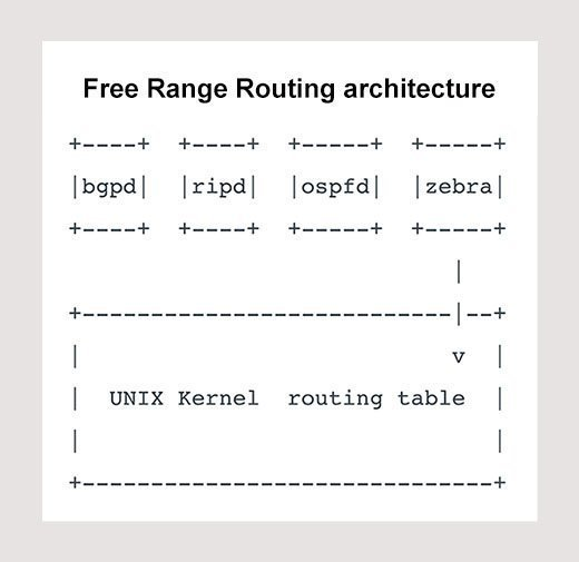 FRR architecture, which relies on daemons that work together to build the routing table.