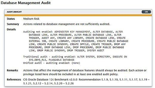 Database management audit results