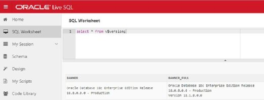 Oracle Database 18c running in the Oracle Live SQL portal