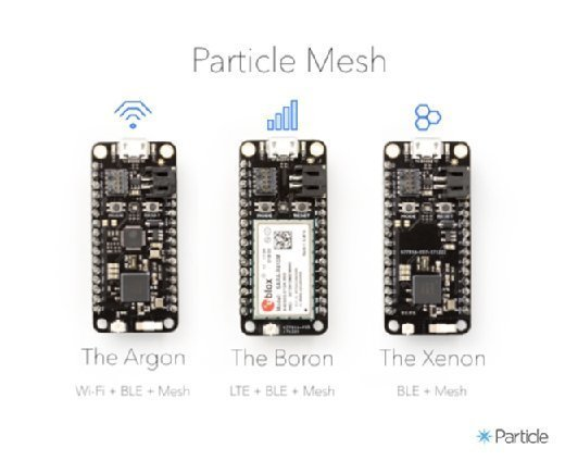 Particle Mesh hardware, Argon, Boron and Xenon  - particle mesh mobile - For Particle, IoT mesh network a natural extension
