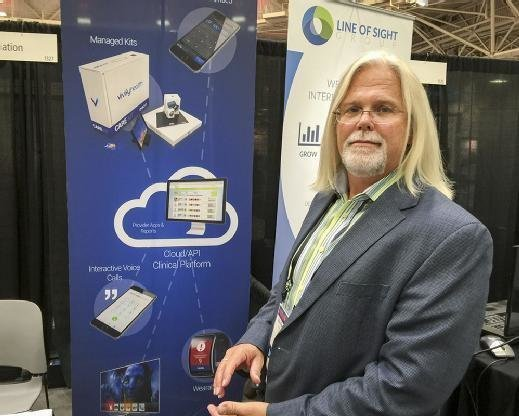 Bill Paschall of Vivify demonstrates components of the 'amateur-proof' home patient monitoring technology kit at ATA 2016