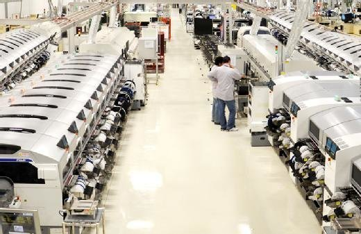 Factory floor of manufacturing plant, Sanmina Corporation