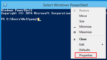 Einstellungen der Windows PowerShell unter Windows 10