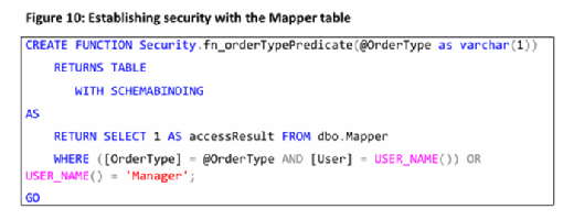 establishing security with the mapper table