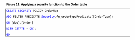 applying a security function to the order table