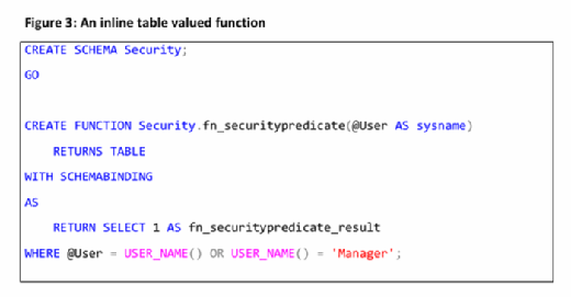 inline table valued function