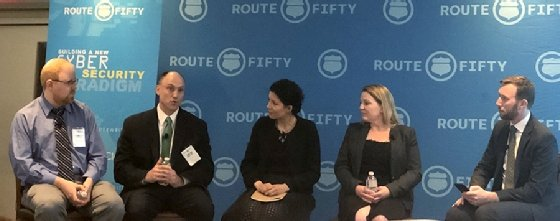 At the recent Route Fifty Cybersecurity Roadshow in Boston, panelists discuss best practices to combat the evolving  threats landscape.  - route fifty panel mobile - Election security threats increasing pressure on state governments