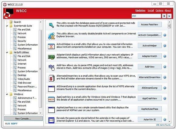 Übersicht über die einzelnen Tools in Windows System Control Center.