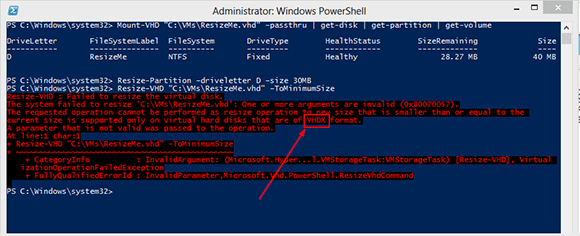 PowerShell error message for incorrect VHD format.