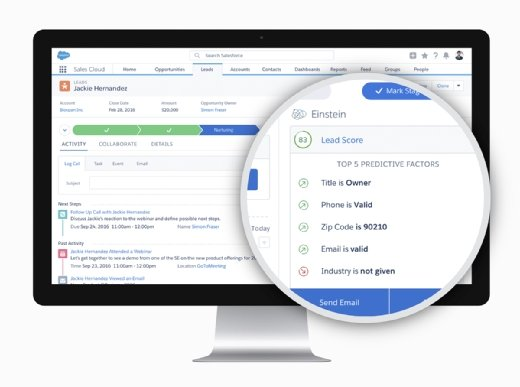 Salesforce Einstein Discovery data discovery software analyzes data from Salesforce, CSV files and external data sources.