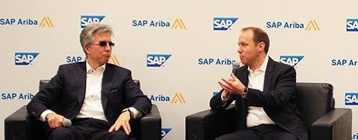 SAP CEO Bill McDermott (left) and SAP Ariba President Alex Atzberger discuss the intelligent enterprise at SAP Ariba Live 2017.