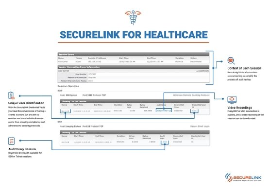 SecureLink for Healthcare provides a centralized platform for hospital IT administrators to manage vendor access to their healthcare system.