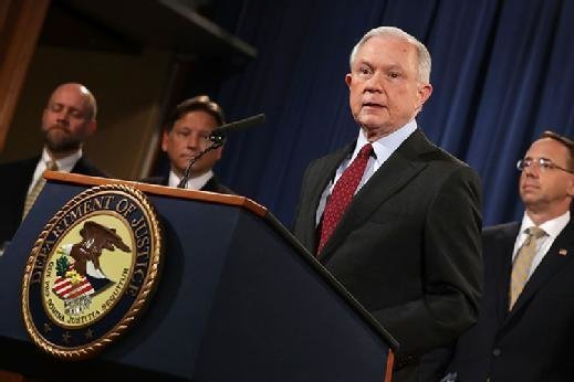 Attorney General Sessions announces shutdown of AlphaBay dark web market by FBI and DEA.