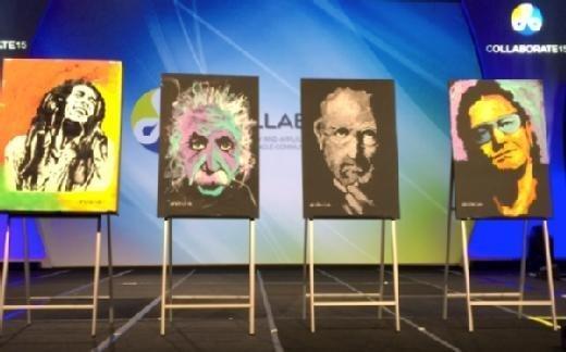 Paintings by speed artist Erik Wahl at Oracle Collaborate keynote.