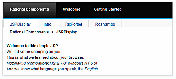 Result of running the updated welcome.jsp file