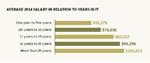 2014 storage salary vs. years in IT
