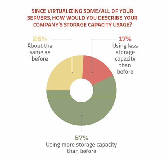 Storage capacity usage with virtualization