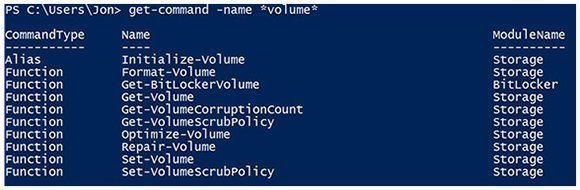 Results from PowerShell search on volumes