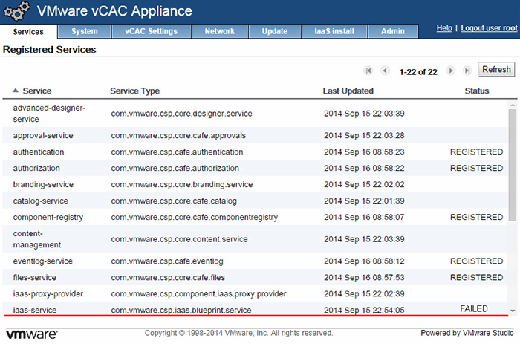 The vCAC services screen