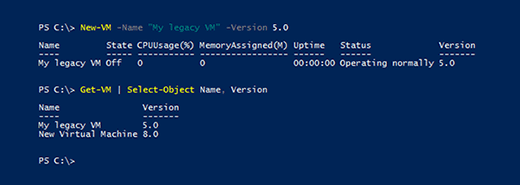 New-VM cmdlet and version number