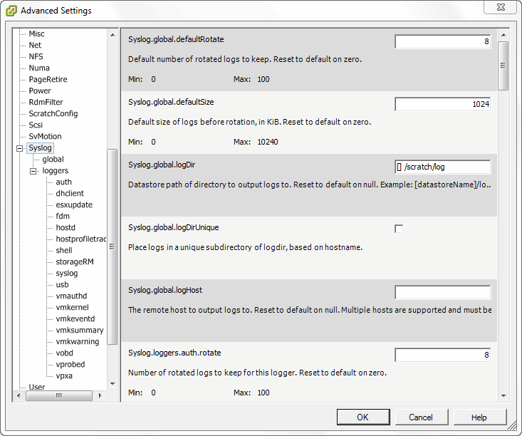 Configuring VMware ESXi syslog settings for centralized logging